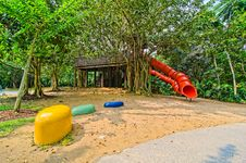 Free Red Colorful Slide Treehouse Garden Play Area Stock Photography - 21105822
