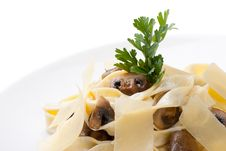 Free Tagliatelle With Champignon And Cheese Sauce Royalty Free Stock Photos - 21106708