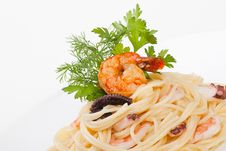 Spaghetti With Seafood And Cheese Creamy Sauce Stock Image