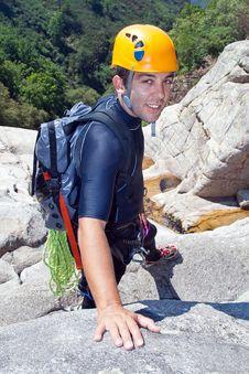 Free Men Descending Waterfall Stock Images - 21106904