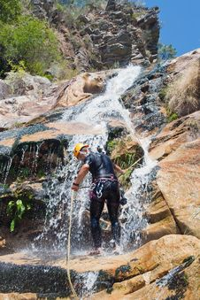 Free Men Descending Waterfall Stock Photography - 21106942