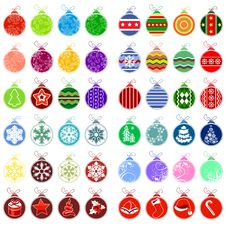 Big Collection Of Different Christmas Balls Stock Images