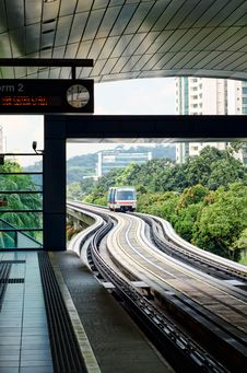 Free Metro Subway Station Approaching Train Monorail Stock Images - 21107124