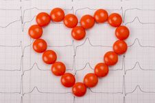 Free Heart  Of Pills On ECG Royalty Free Stock Image - 21107516
