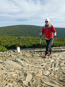 Free Nordic Walking In Mountains Royalty Free Stock Photos - 21107898