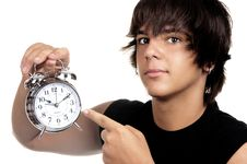 Free Young With An Alarm Clock Stock Photo - 21107940
