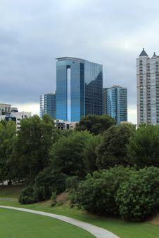 Atlanta Office Building And Trees Stock Images