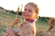 Free Young Woman In Corn Haystack Royalty Free Stock Images - 21108549