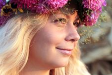 Free Young Woman In Corn Haystack With Wreath Royalty Free Stock Photo - 21108585