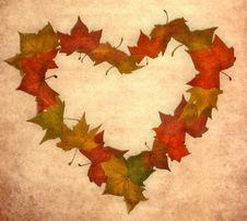Free Fall Leaf Love Vintage Heart Stock Image - 21108881