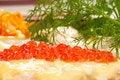 Free Salmon Steak With Red Caviar Stock Photo - 21111830