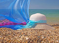 Free Straw Hat And Pareo On A Beach Stock Photos - 21118913