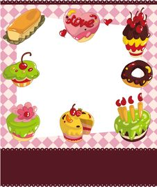 Free Cartoon Cake Card Royalty Free Stock Photo - 21110635