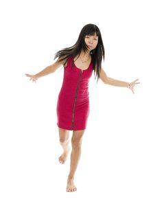 Free Asian Woman In Action On One Leg Royalty Free Stock Image - 21110836