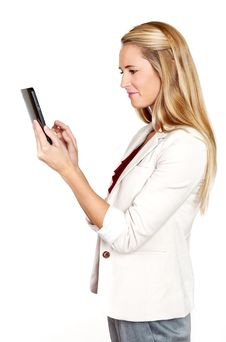 Free Young Business Woman With Touch Screen Pad Royalty Free Stock Photography - 21110867
