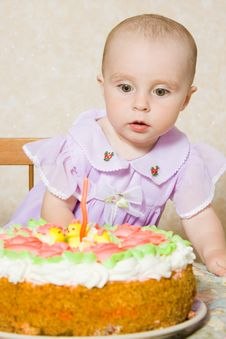 Free Baby With The Birthday Cake. Royalty Free Stock Photography - 21111557
