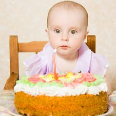 Free Baby With The Birthday Cake. Royalty Free Stock Photos - 21111578