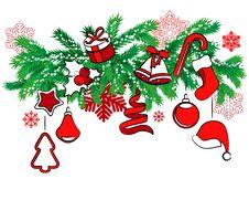 Free Christmas Decoration On Tree Branch Stock Photos - 21111653