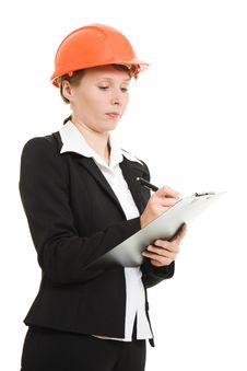 Free Businesswoman In A Helmet. Royalty Free Stock Photos - 21111718