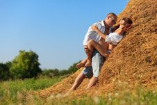 Lovers On Hayloft Royalty Free Stock Images