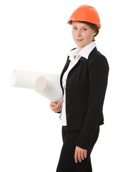 Free Businesswoman In A Helmet With Drawings Royalty Free Stock Photos - 21111868