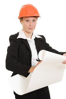 Free Businesswoman In A Helmet. Royalty Free Stock Photo - 21111905