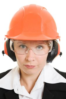 Free Businesswoman In A Helmet Royalty Free Stock Photography - 21111997