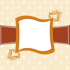 Free Cute Orange Background Card With Floral Elements Royalty Free Stock Photography - 21112097