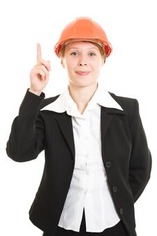 Free Businesswoman In A Helmet Shows A Finger Up. Royalty Free Stock Images - 21112189
