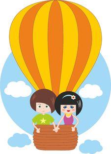 Free Children Flying On Hot Air Balloon Stock Photos - 21113363