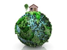 Free House And Planet Royalty Free Stock Photo - 21114885