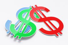 Free Three Shiny Dollar Signs Stock Image - 21115201