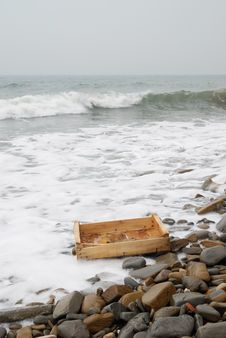 Wooden Box On The Beach Royalty Free Stock Photo
