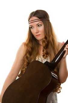 Free Hippie With A Guitar Royalty Free Stock Photos - 21115678