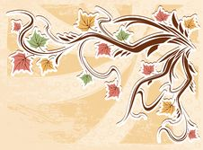 Free Vector Vintage Autumn Leaves Background Stock Photos - 21115743