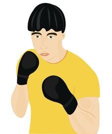 Boxer In Glove Royalty Free Stock Image