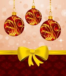 Christmas Card Or Background With Set Balls Stock Photography