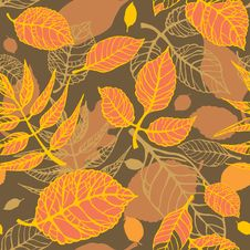 Autumn Leaves Seamless Pattern Royalty Free Stock Photo