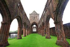 Sweetheart Abbey, Ruined Cistercian Monastery Stock Photo