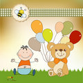Free Baby Invitation With Teddy Bear And Balloons Stock Photo - 21128940