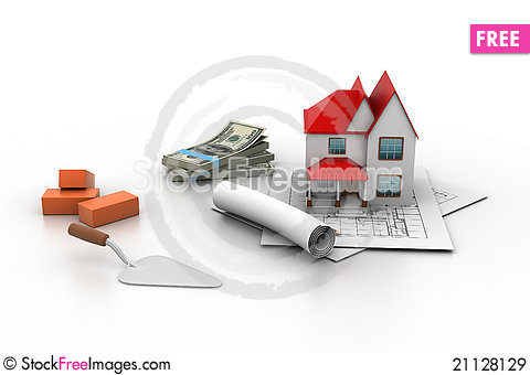 Free House Model On A Plan Royalty Free Stock Images - 21128129