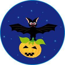 Free Bat And Pumpkin Royalty Free Stock Photos - 21120558