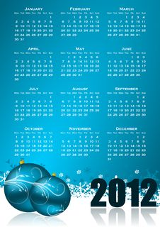 Free Calendar For 2012 Year Stock Image - 21121121
