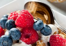 Free Breakfast Cereal With Blueberries And Raspberries Royalty Free Stock Photos - 21121548