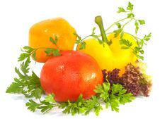 Free Fresh Sweet Pepper, Tomato And Greens On White Stock Images - 21122444