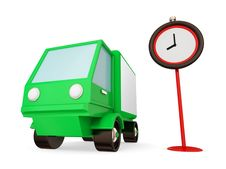 Green Truck And Red Timer. Royalty Free Stock Photo