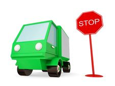 Free Green Truck With STOP Sign. Stock Photo - 21123100