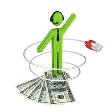 Free 3d Small Person With A Patchcord And Dollars. Royalty Free Stock Photography - 21123197