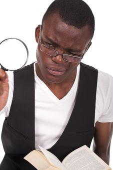 Free Black Man Holding A Magnifying Glass Stock Image - 21123691