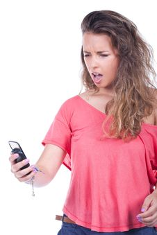 Free Woman Yelling At Her Phone Royalty Free Stock Photo - 21123715